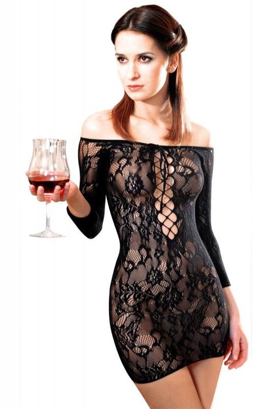 Robe Fetish Dinner résille Noir - MyLibido