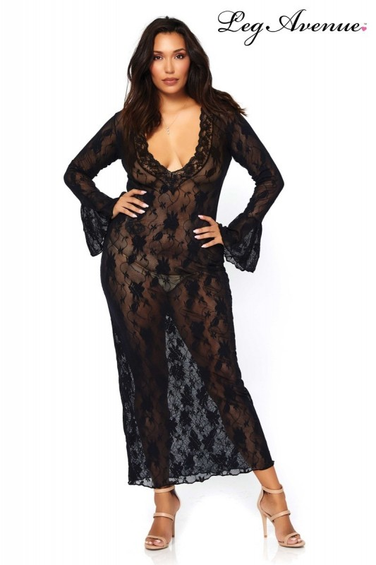 Robe longue stretch Queen Deep-V - 1